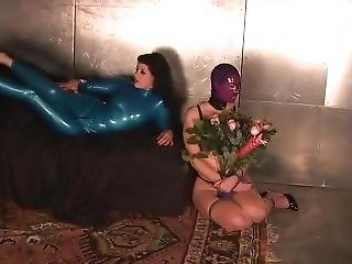 Rubber Bondage Girl Hogtied