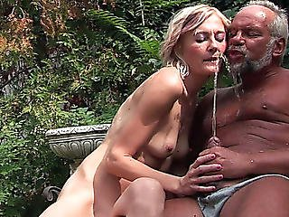 Undressed Boned Blond Enjoys Swallowing Urine Of One Old Dude