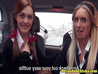 Euro Schoolgirls Picked Up For Bj In Car Trio