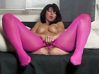 Pantyhose Play In Pink Yea!