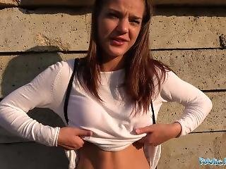 Public Agent Tight Pussy Fucked For Cash Outside