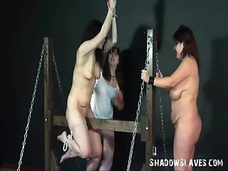 Wooden Horse Bondage And Palm Spanking Of Two Caned Lesbian Slave Girls In Extre