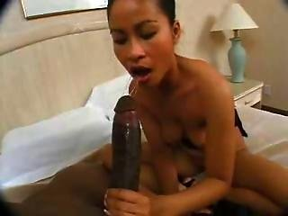 Asian Slut Gets Ass Fucked By 12 Inch Black Cock