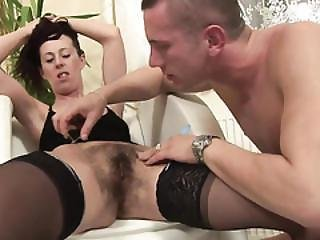 Slender Chick In Black Stockings Likes Her Hairy Pussy Poked