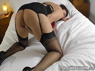 Classy Milf Lara Teases In Stockings And Toying Hard Solo