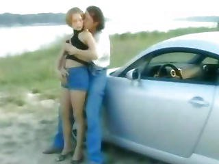 Sexy Short Haired Young Blonde Fucked On A Car