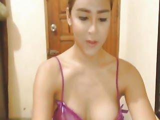 Hot Asian Tranny Jerks Her Dick
