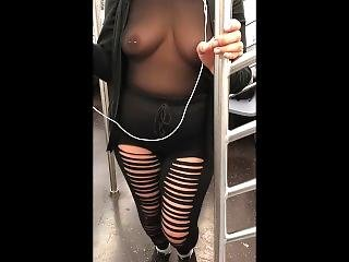 Wife In See Through Sheer Leotard On Train (need A Female To Join Us)
