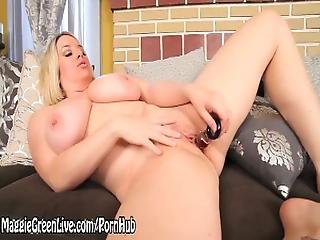 Busty Blonde Maggie Green Gets Off With Glass Dildo%21