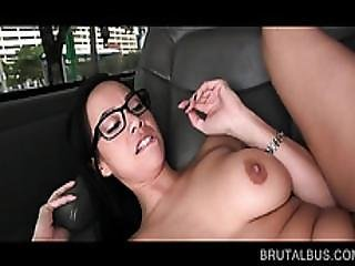 Chesty Teen In Glasses Gets Slutty In The Sex Bus