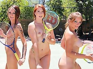 Summer Tennis Babes Hot Outdoor Group Fuck