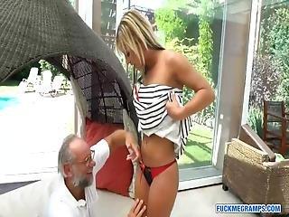 Angelina Enjoys Hardcore Fuck With Grandpa