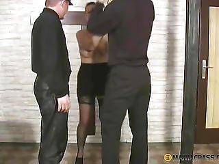 ブルネット, 連鎖, フェティッシュ, ストッキング, 3P