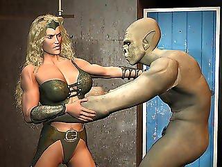 Bizarre Monster Vs. Amazon Mixed Wrestling Craziness