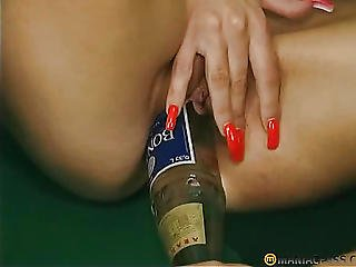 In Her Pussy Shoves An Empty Beer Bottle