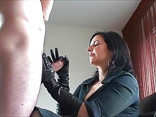 Handjob And Cum In Leather Gloves