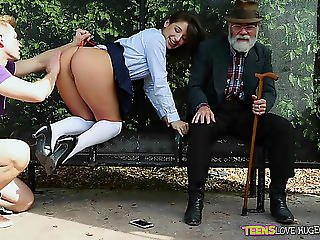 True Public Sex On A Bench With A Angel In A Short Petticoat