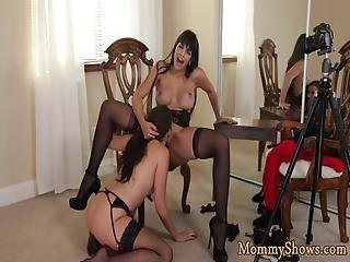 Classy Stepmom In Stockings Gets Pussy Licked