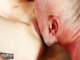 Hot Pussy Fucking Teen Gets Horny And Sucks Off Grandpa's Cock
