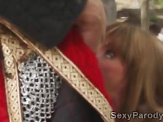 Sleeping Beauty Sucks Royal Guards Meat Sword Outdoors