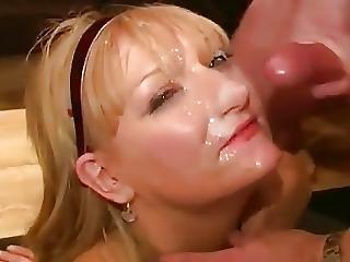 Dirty English Slut Bukkake Party 03