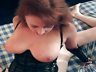 Redhead Mistress In Lingerie Smothering