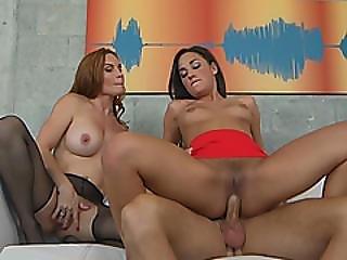 Slutty Young Brunette Amara Romani And Hot Milf Diamond Foxx Take Turns On Large Dick
