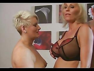 Two Mature Milfs Share Young Guy