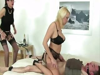 Lady Sonia And Friend Have Some Fun On Tied Down Cock