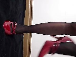 Requested, Wearing Black Nylons And Fucking My Pussy With Red Shoes!