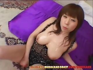 Cute Japanese Babe Gets Cum Covered - Japanese Bukkake Orgy