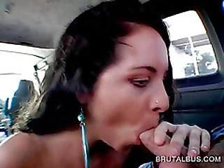Curly Chick Takes Dick For A Blow In The Bus