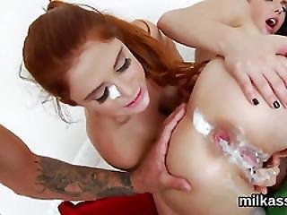 Horny Lesbians Fill Up Their Huge Asses With Cream And Ejaculate It Out