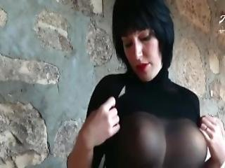 Hot German Babe Anett Larmann Solo In Nylon