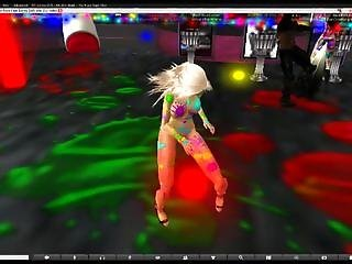 Second Life Light Show At The Black Rope Club + Nude Body Painting