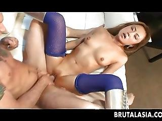Skinny asian girl takes a thick cock down her