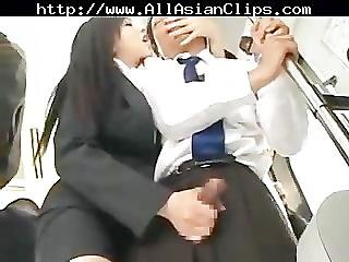Asian, Bus, Chinese, Cumshot, Handjob, Japanese, Public, Sexy, Swallow
