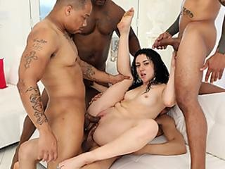 Latina Lets Four Black Guys Fuck Her Ass And Pussy