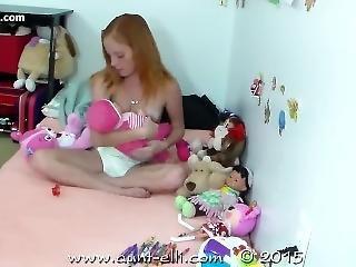 Little Girl In Baby Diaper