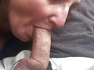 Amateur, Blowjob, Car, Granny, Mature, Swallow