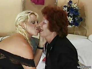 Granny Fucks Her Lesbian Friends Pussy With Strapon