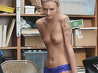 Blonde Thief Caught Blowjob Office Long Dong