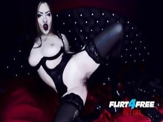 Goth Dominatrix Fucks Herself In Latex