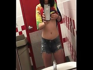 Playing With My Tits In A Five Guys Bathroom