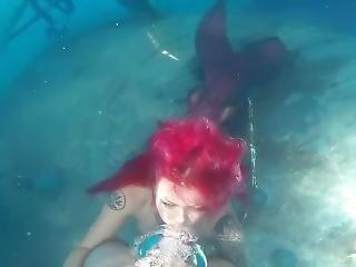 Underwater Red Mermaid Blowjob
