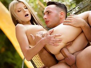 Ass Fucking Blonde Spinner In The Garden