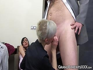 Old And Young Foursome With Skinny Teen And Sexy Granny