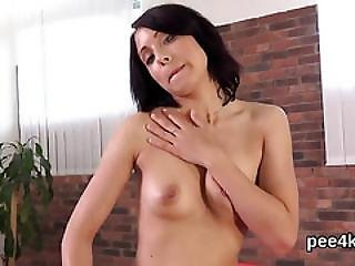 Attractive Kitten Is Urinating And Pleasing Trimmed Vagina