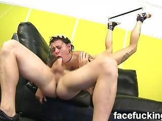 Sisterhood Of Gagging Amelia Dire Hung From The Ceiling And Facefucked