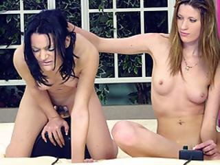 Two Amateur Teens Play With The Sybian